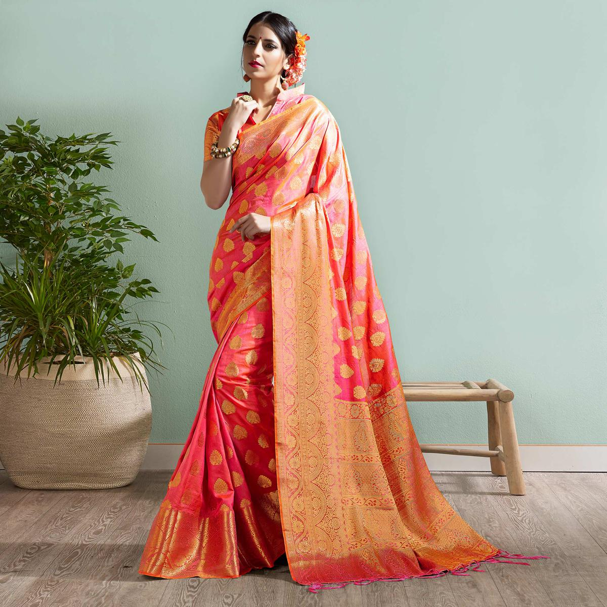 Sophisticated Pink Colored Festive Wear Woven Silk Saree