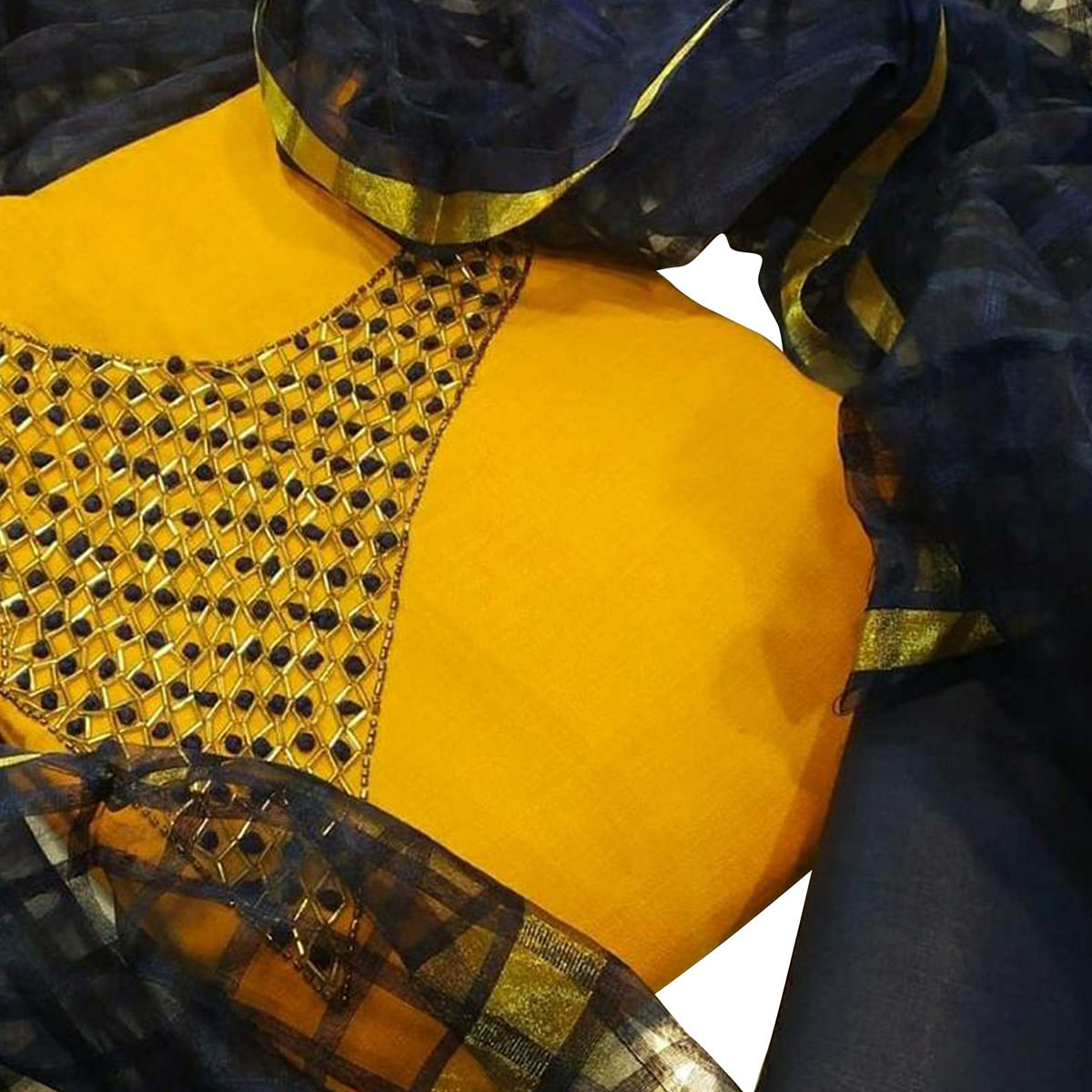 Glorious Yellow Colored Partywear Embroidered Chanderi Silk Dress Material