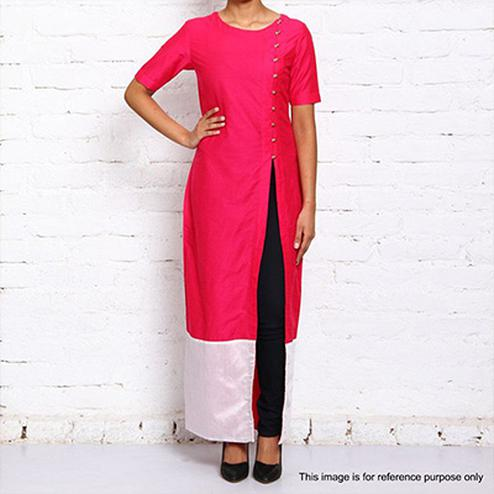 Pink Side Slit Long Kurti