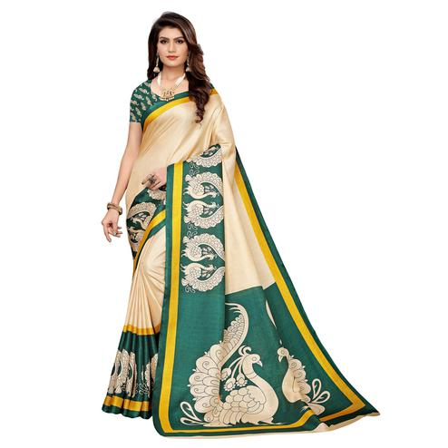 Elegant Beige - Teal Green Colored Casual Wear Printed Khadi Silk Saree