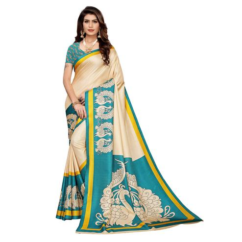 Radiant Beige - Turquoise Colored Casual Wear Printed Khadi Silk Saree