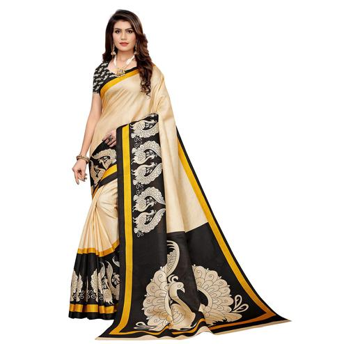 Pleasant Beige - Black Colored Casual Wear Printed Khadi Silk Saree