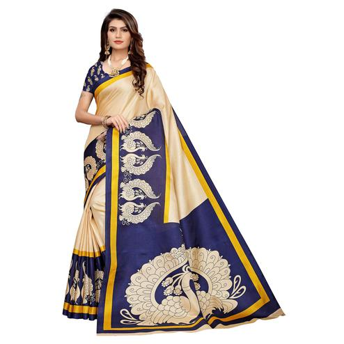 Opulent Beige & Blue Colored Casual Wear Printed Khadi Silk Saree