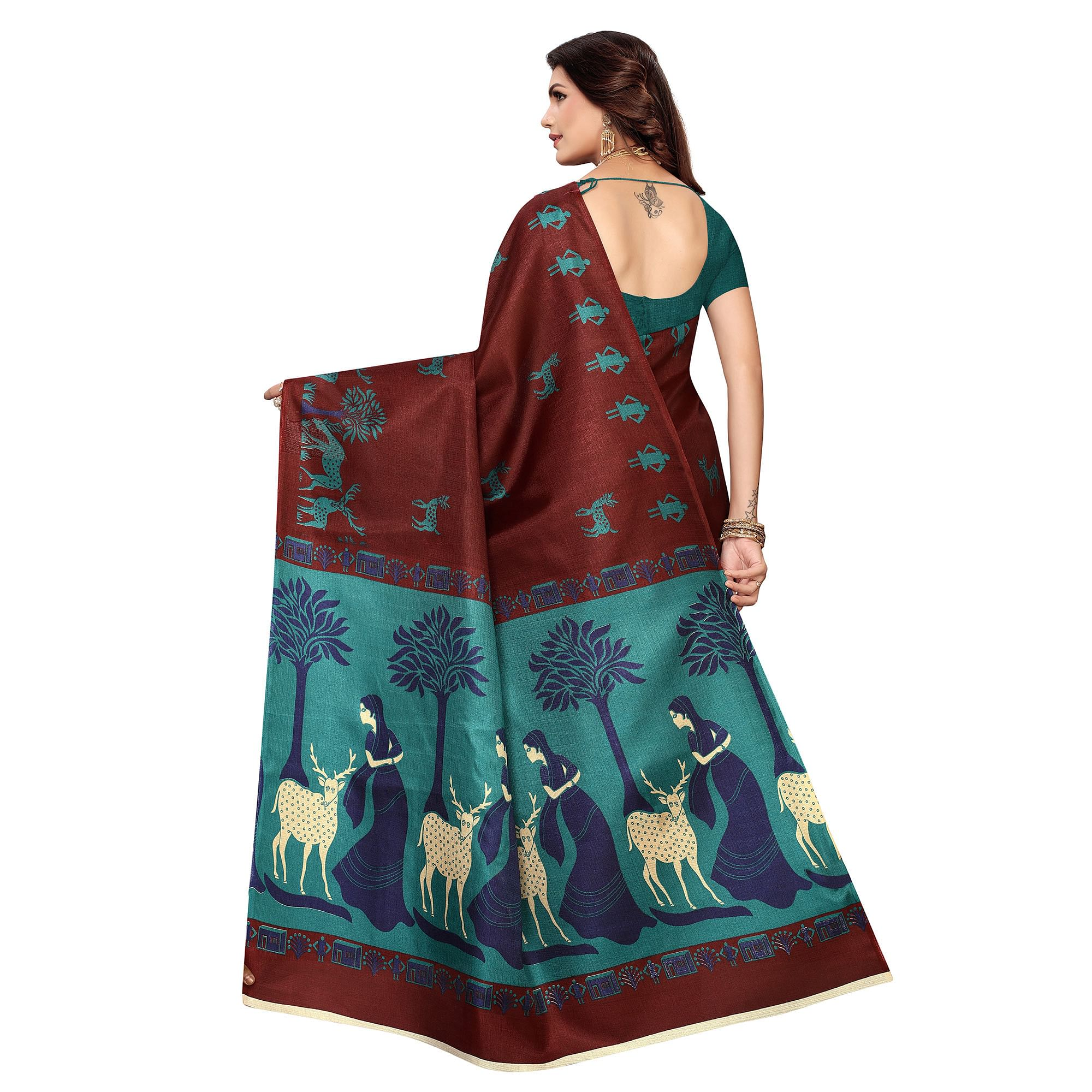 Energetic Dark Brown Colored Casual Wear Printed Khadi Silk Saree