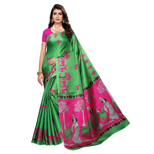 Exceptional Green Colored Casual Wear Printed Khadi Silk Saree
