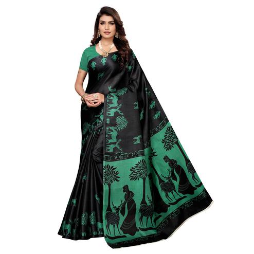 Gleaming Black Colored Casual Wear Printed Khadi Silk Saree