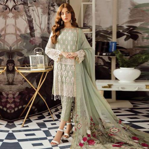 Entrancing Pastel Green Colored Party Wear Embroidered Georgette Suit