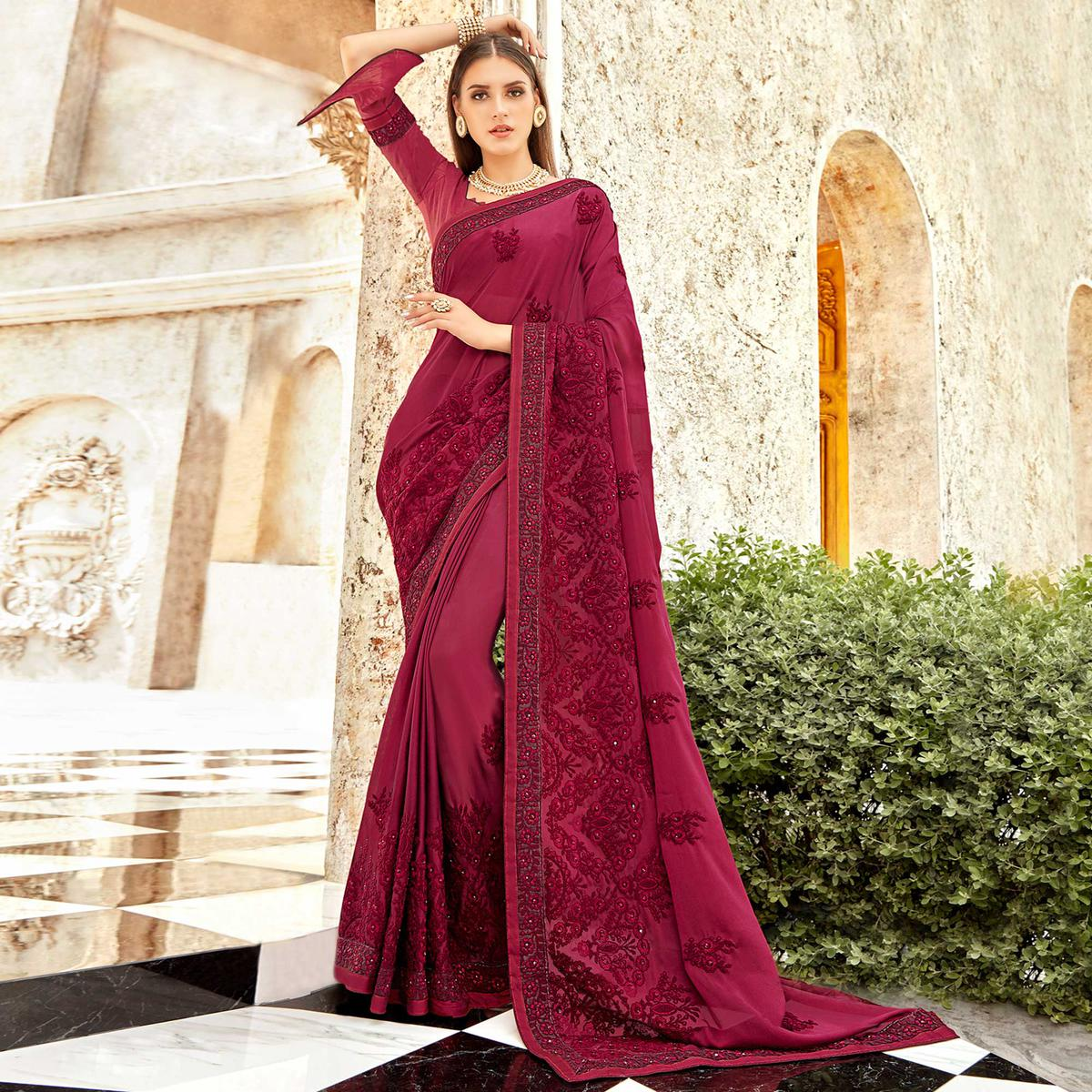 Exclusive Wine Colored Partywear Embroidered Georgette Saree