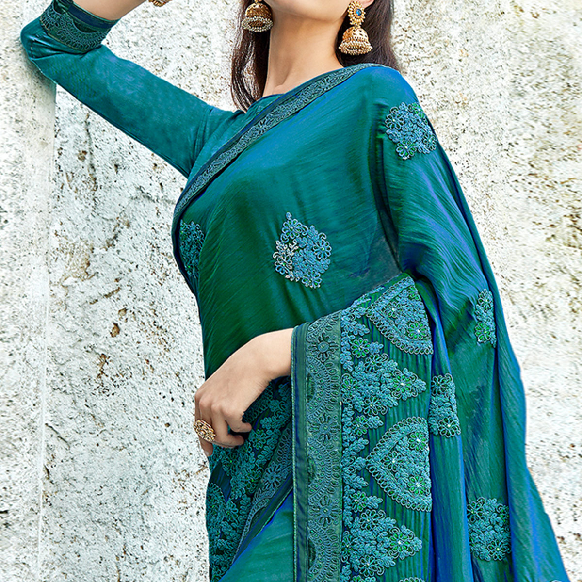 Radiant Teal Green Colored Partywear Embroidered Georgette Saree