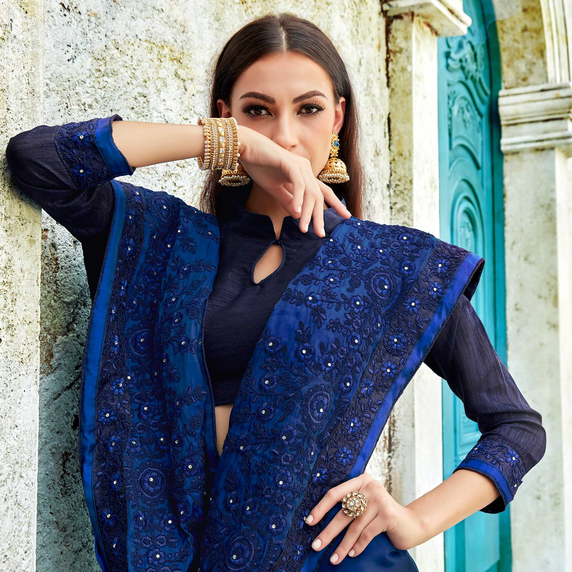 Engrossing Navy Blue Colored Partywear Embroidered Georgette Saree