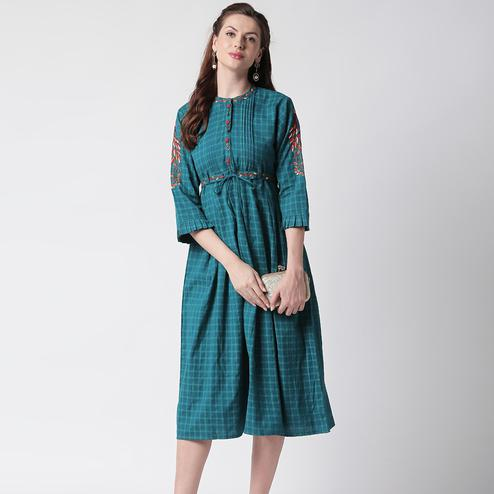 Hypnotic Teal Blue Colored Partywear Embroidered Cotton Long Kurti