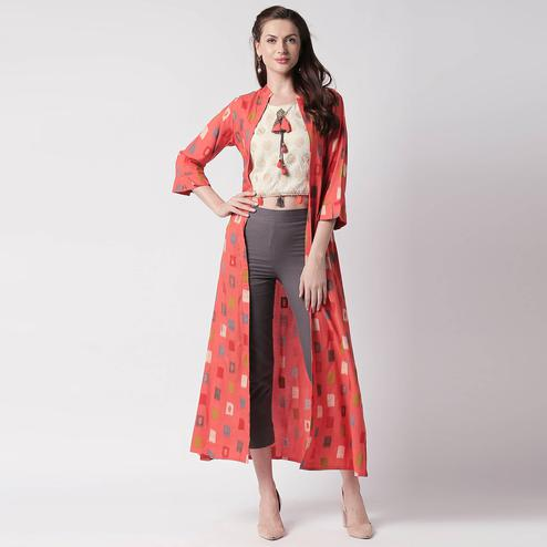 Excellent Orange Colored Partywear Printed Cotton Kurti-Pant Set