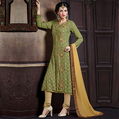 Green Straight Cut Georgette Suit