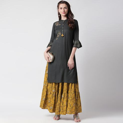 Preferable Black-Green Colored Partywear Embroidered Cotton Kurti-Skirt Set
