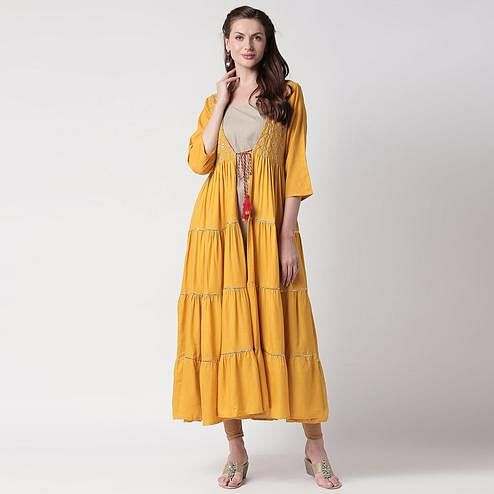 Intricate Grey-Yellow Colored Partywear Embroidered Cotton Kurti