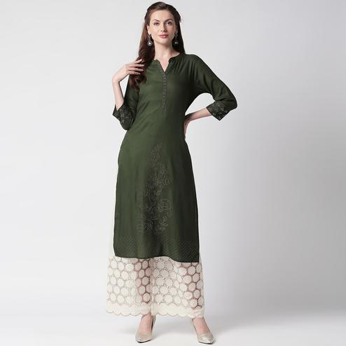 Desirable Dark Green Colored Casual Wear Cotton Kurti-Palazzo Set