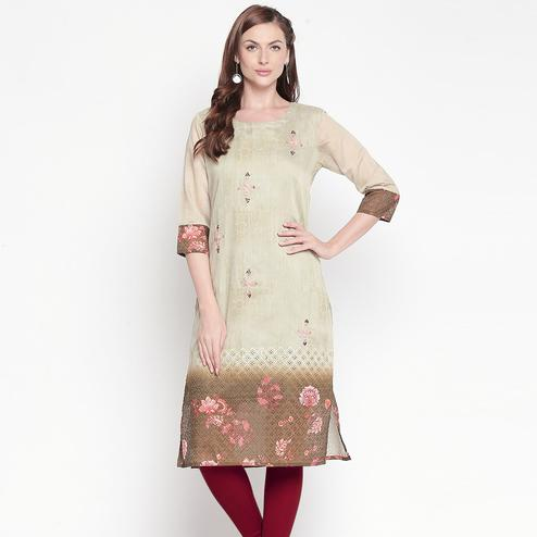Sophisticated Green Colored Casual Embroidered Silk Kurti