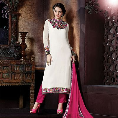 Attractive White High Neck Designer Suit