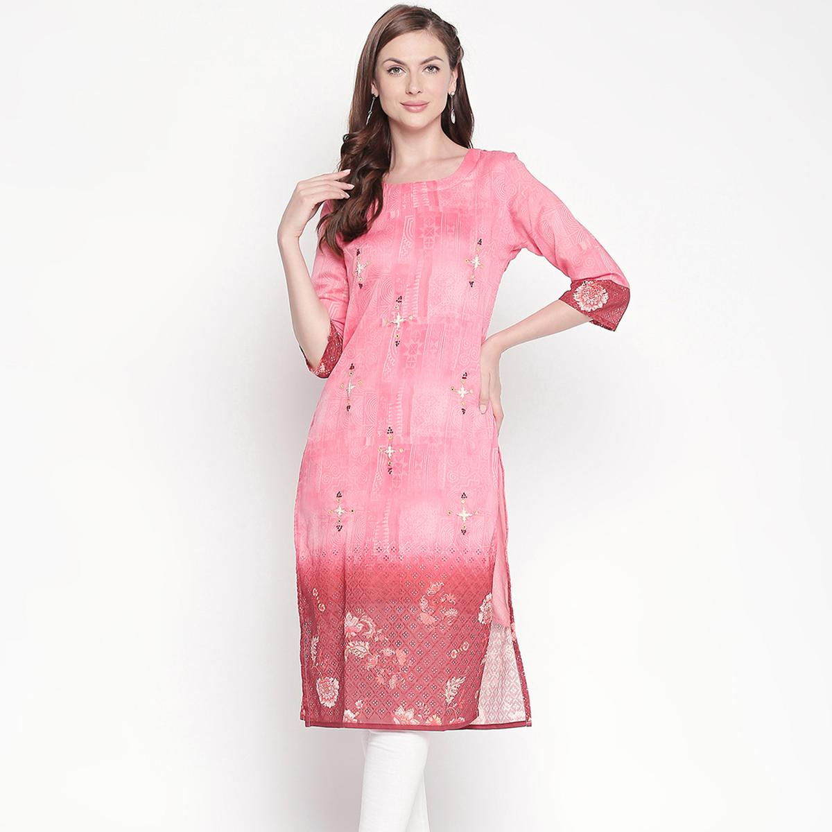 Trendy Pink Colored Casual Embroidered Silk Kurti