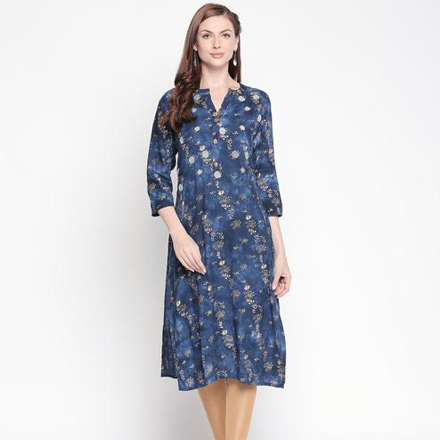Elegant Navy Blue Colored Casual Floral Printed Cotton Kurti