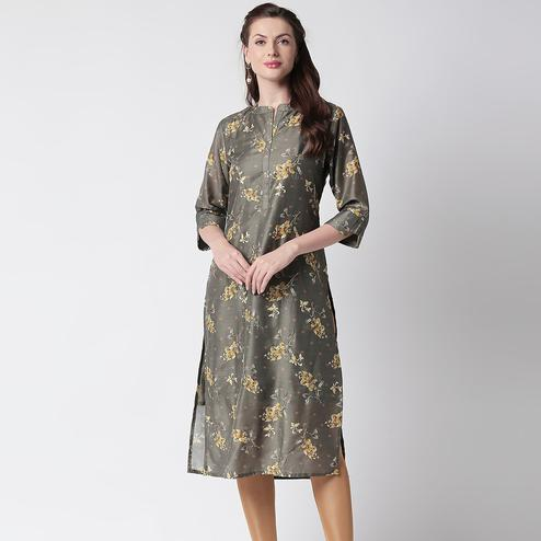 Radiant Mehendi Green Colored Casual Floral Printed Cotton Kurti