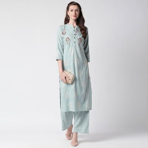 Opulent Slate Grey Colored Partywear Embroidered Cotton Kurti-Palazzo Set