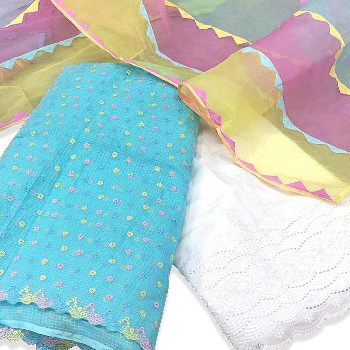 Radiant Sky Blue Colored Partywear Kashmiri Embroidered Work Modal Dress Material