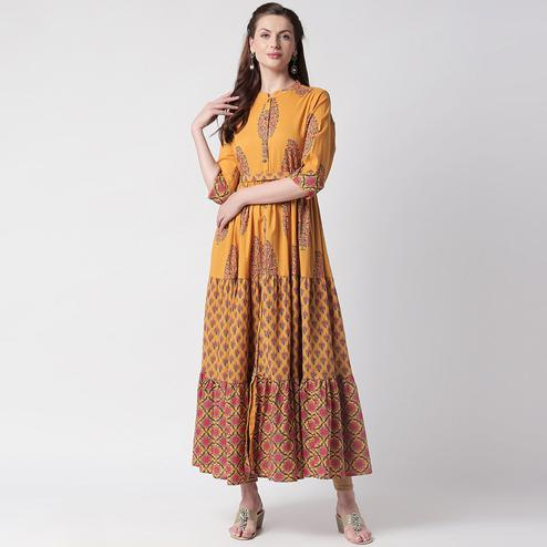 Radiant Yellow Colored Casual Printed Cotton Long Kurti