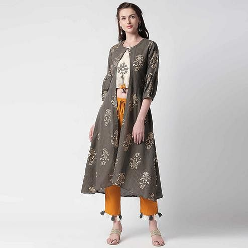 Pleasant Grey Colored Casual Printed Shrug Style Kurti - Palazzo Set