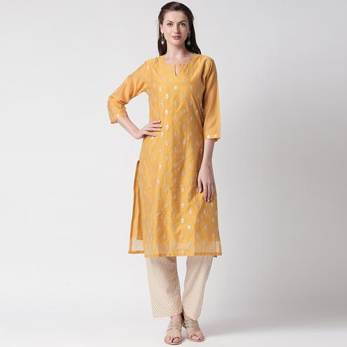 Opulent Mustard Yellow Colored Partywear Embroidered Silk Kurti - Bottom Set