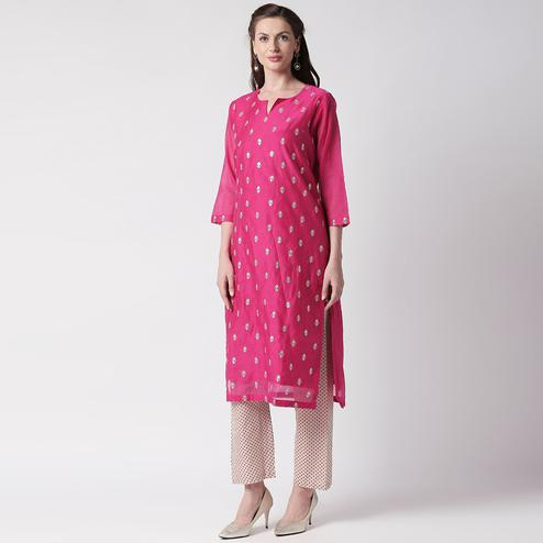 Energetic Pink Colored Partywear Embroidered Silk Kurti - Bottom Set