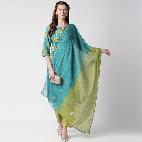 Glowing Turquoise Green Colored Casual Printed Cotton Suit