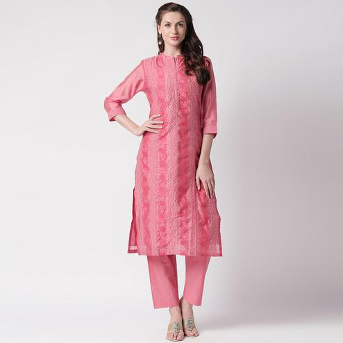 Fantastic Pink Colored Casual Embroidery Silk Suit