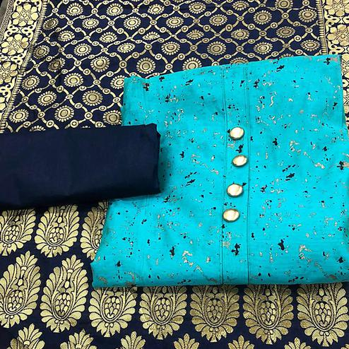 Classy Sky Blue Colored Festive Wear Printed Chanderi Silk Dress Material With Banarasi Silk Dupatta