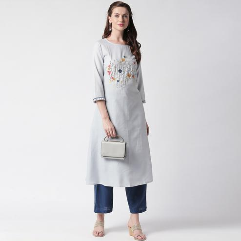 Mesmerising Grey Colored Partywear Embroidered Cotton Kurti-Palazzo Set