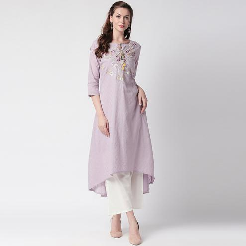 Preferable Mauve Colored Partywear Embroidered Cotton Kurti-Palazzo Set