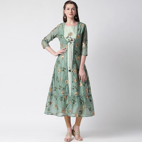 Marvellous Green Colored Partywear Embroidered Silk Kurti-Jacket Set