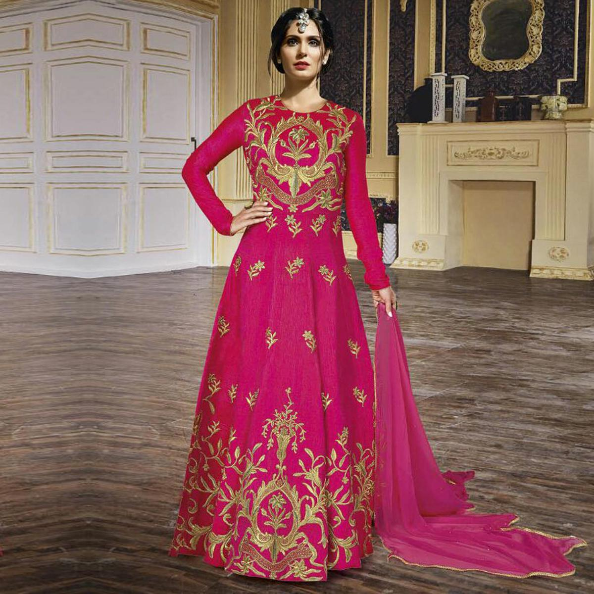 Buy Hot Pink Anarkali Gown - Online Women Ethnic Wear at Peachmode.com