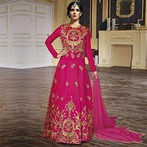Hot Pink Embroidered Anarkali Gown