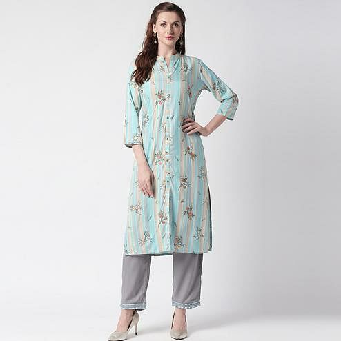 Breathtaking Blue Colored Partywear Embroidered Cotton Kurti-Palazzo Set