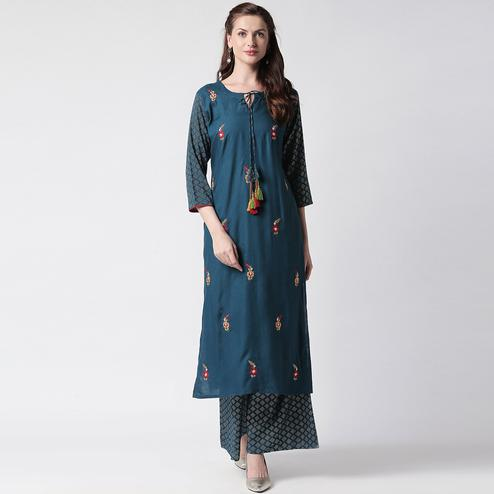 Flamboyant Navy Blue Colored Partywear Embroidered Cotton Kurti-Palazzo Set