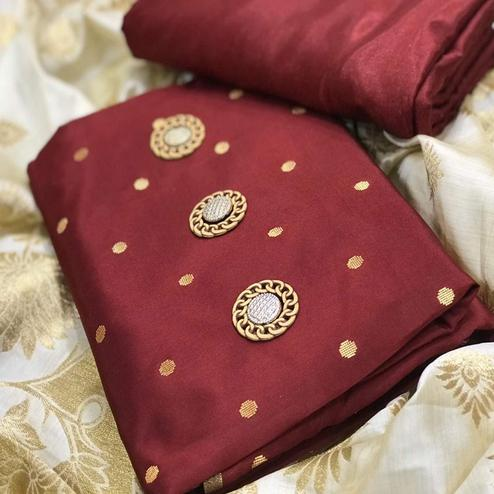 Mesmeric Maroon Colored Festive Wear Woven Satin Dress Material With Banarasi Silk Dupatta
