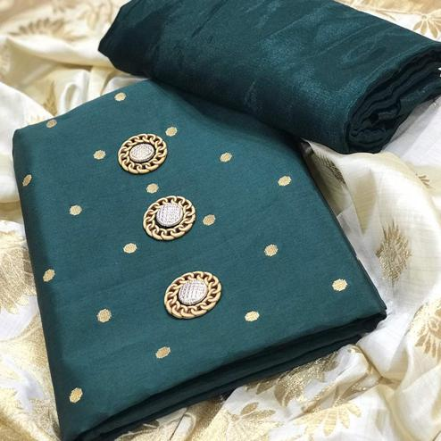Desiring Green Colored Festive Wear Woven Satin Dress Material With Banarasi Silk Dupatta
