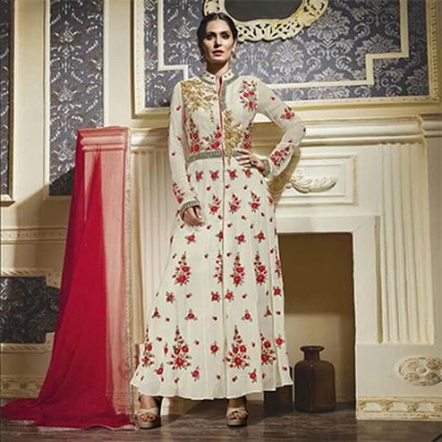 Off White Floral Work Anarkali Suit