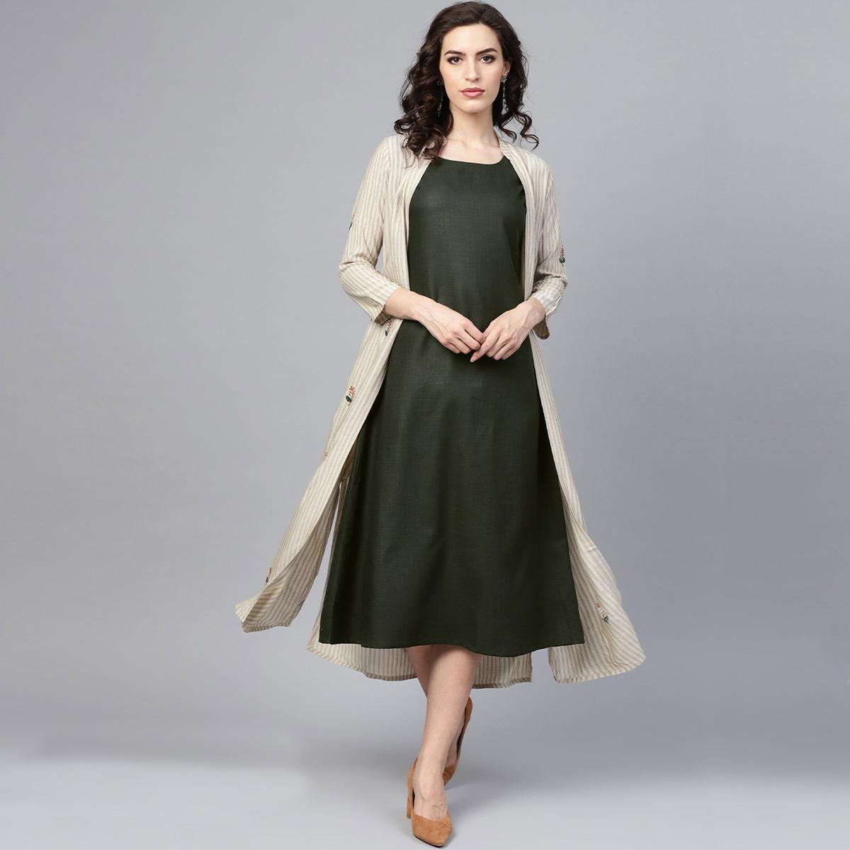 Attractive Beige-Black Colored Party Wear Printed Viscose-Rayon Kurti-Jacket Set
