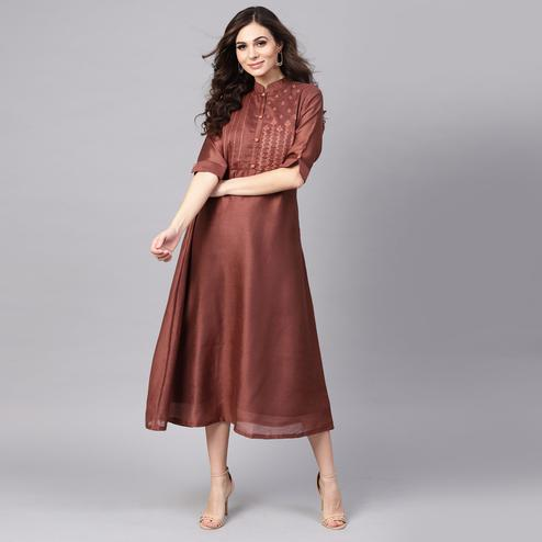 Beautiful Brown Colored Party Wear Embroidered Modal Kurti