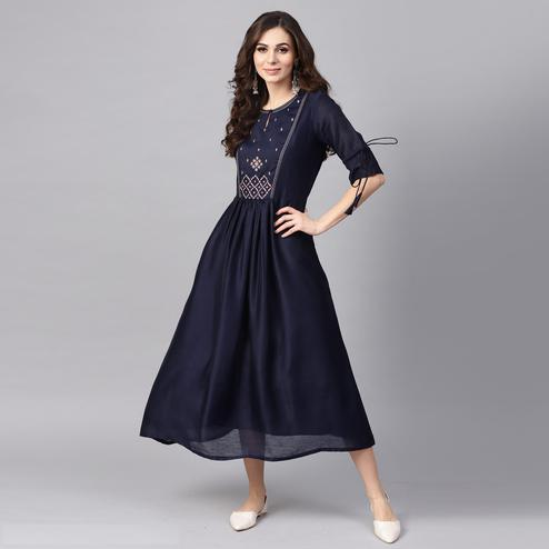 Graceful Navy Blue Colored Party Wear Embroidered Modal Kurti