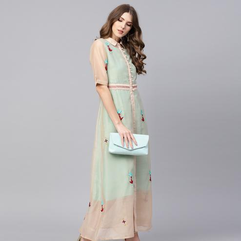 Charming Sea Green Colored Party Wear Embroidered Cotton Kurti