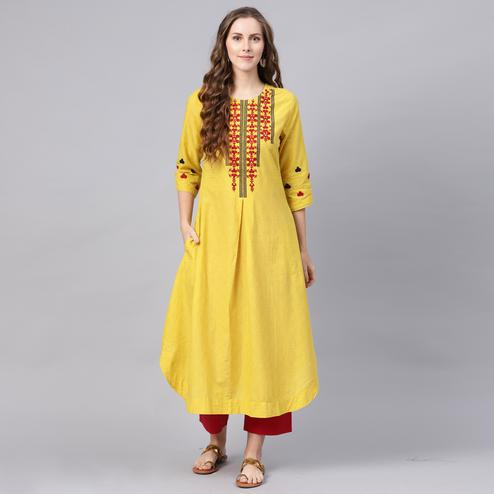 Charming Yellow-Red Colored Party Wear Embroidered Cotton Kurti-Palazzo set