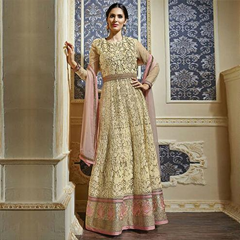 Cream Net Embroidered Anarkali Gown